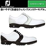 (フットジョイ) FootJoy 2014 GREENJOYS グリーンジョイズ レディース スパイクレス ゴルフシューズ 24.5cm 48416(ホワイト/ブラック)