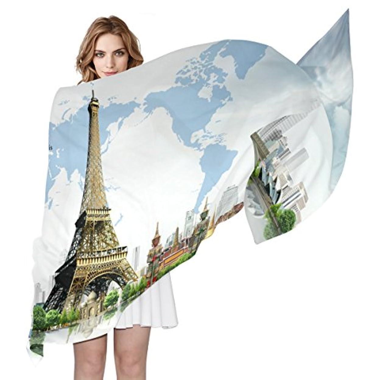虐待計画独立GORIRA(ゴリラ) エッフェル塔 Paris 有名建物 ロング 人気 おしゃれ 個性 スカーフ ストール バンダナ 肌触り抜群 薄手 プレゼント レディース やわらかい シフォン 絹のスカーフ 90x180cm