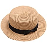 リボン付き ベーシックなカンカンボ帽 レディース 全9カラー (56~58cm, カーキ)
