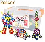 幾何学認知 磁石ペース66モデルDIY 子どもおもちゃ 積み木 四角、三角、長三角、車輪 - 創意プレゼント想像力を育てる知育玩具