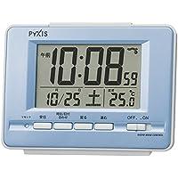 セイコー クロック 目覚まし時計 電波 デジタル カレンダー 温度 表示 PYXIS ピクシス 薄青 パール NR535L SEIKO