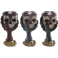 ノーブランド品  2個入 ステンレス製 3D髑髏(5つ選べる) マグカップ グラスカップ ハロウィーン 装飾 - #2