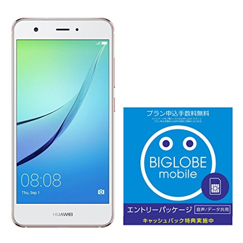 Huawei 5.0型 nova SIMフリースマートフォン ローズゴールド 日本正規代理店品 NOVA/ROSE GOLD/BIGLOBE SIM エントリーパッケージ ドコモ対応SIMカード データ通信/音声通話 (ナノ/マイクロ/標準SIM)[iPhone/Android] 最大 20,000円キャッシュバック EP-1