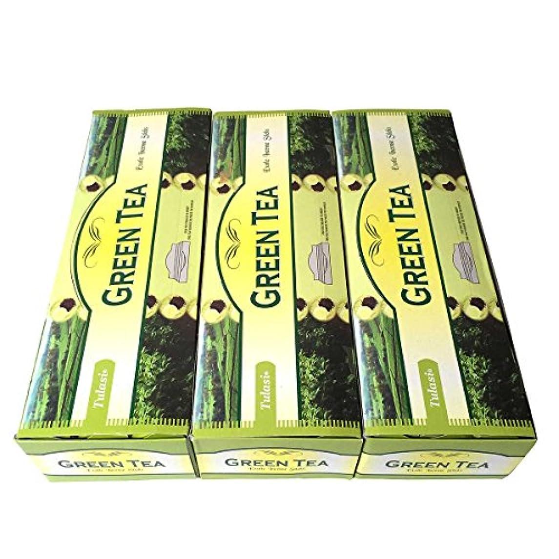 意気消沈したグロー価値グリーンティー香スティック 3BOX(18箱)/TULASI GREEN TEA/インセンス/インド香 お香 [並行輸入品]