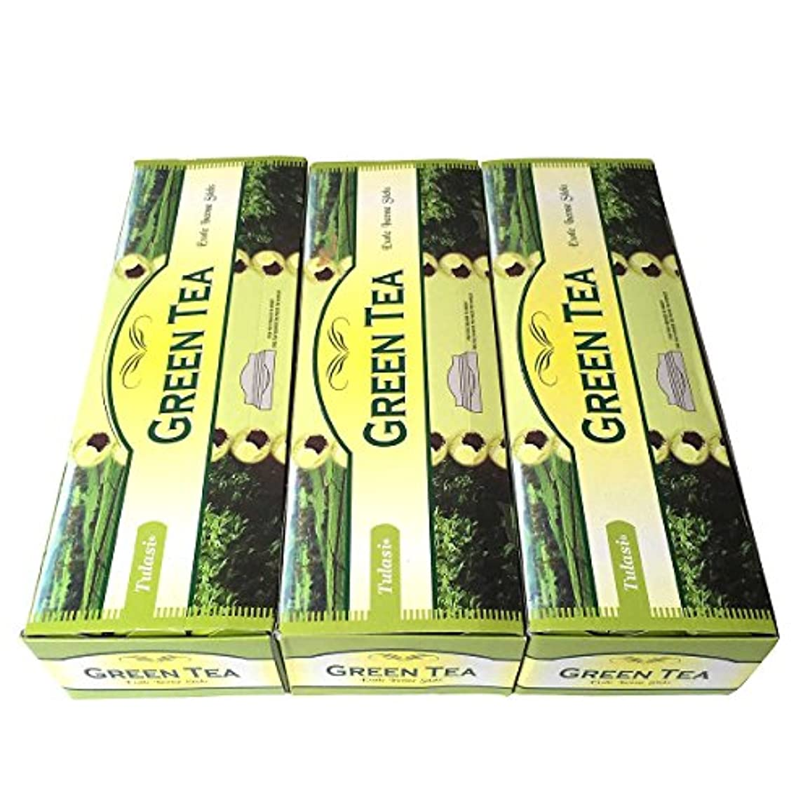 革命シニス歴史的グリーンティー香スティック 3BOX(18箱)/TULASI GREEN TEA/インセンス/インド香 お香 [並行輸入品]