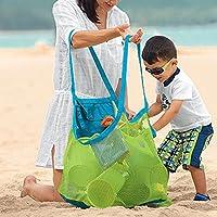 Pawaca ビーチバッグ メッシュ収納バッグ 特大 子供 海水浴 公園 砂遊び 水着 通気 緑
