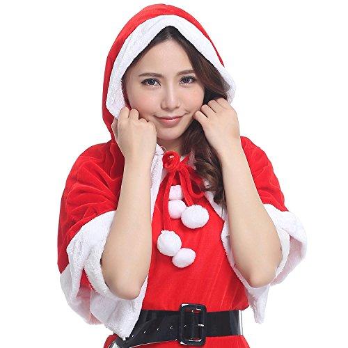 これ1着で 簡単 クリスマス気分! フード付きサンタポンチョ ケープ(赤) a392a