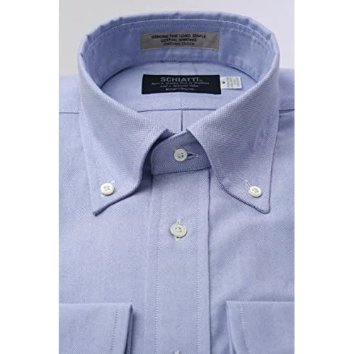 (スキャッティ) SCHIATTI ヴィンテージ オックスフォード ブルー無地 ボタンダウン ドレスシャツbd2151-4185