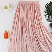 HJJUANAU Elastic Waist Pearl Pleated Skirt, Size: One Size(Purple) (Color : Pink, Size : One Size)