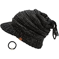 D&Y Women's Beanie Tail Cable Knit Visor Ponytail Beanie Hat With Hair Tie.(Black)