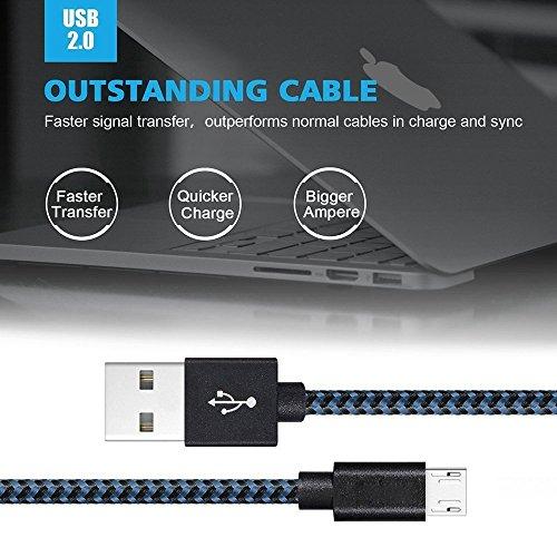【3本セット 1m】usbケーブル Belog Micro USBケーブル - 充電ケーブル 2.0 急速充電 高耐久 高速データ転送 充電 Android, Samsung, Huawei, Nokia, LG, HTC その他対応(ダークブルー)