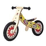 自転車を走らせていない子供ペダルを歩いていない自転車2つの丸い木製のキッドバランスバイク2-6歳