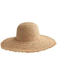 女性の優雅な麦わら帽子 - ビーチ休暇日曜日の浜の海辺のレジャー旅行のバイザー帽子の折りたたみ夏の帽子 (色 : ベージュ)