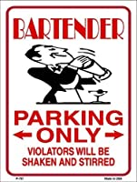 Bartender Parking Only 金属製 ノベルティ パーキングサイン (付箋)