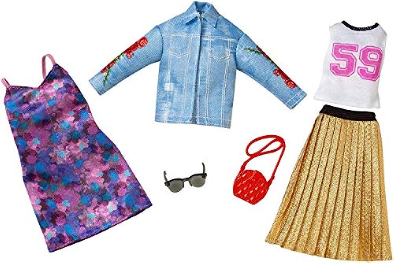 バービー 人形 洋服 Truckerジャケット、プリーツスカート 服 アクセサリー ファッション2パックセット [並行輸入品]