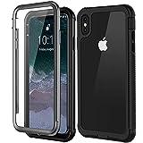 iPhone xs max 耐衝撃ケース,iPhone xs max カバー 衝撃吸収 クリア 6.5インチ 米軍MIL規格取得 TPU+PC 指紋認証 フルボディケース 全面保護 傷に強い 防塵 防塵 耐衝撃 頑丈 ios充電対応 (ブラック+透明)