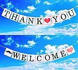 JINSELF 英国ガーランド2組 バナー 誕生日 結婚式 パーティー お祝い 飾り付け 飾り 装飾 ウェディング インテリア 【WELCOME/THANK YOU】