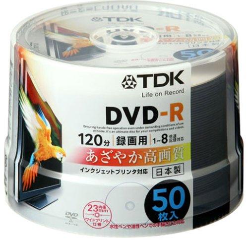 TDK 録画用DVD-R ホワイトワイドプリンタブル 1-8倍速 日本製 スピンドル50枚パック DR120PWB50PU