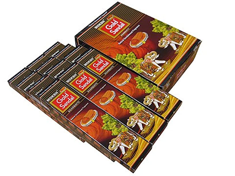 病気テント許すMoksh(モクシャ)社 Moksh(モクシャ)社 ゴールドサンダル香 スティック GOLD SANDAL 6箱セット