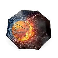 折り畳み傘 ワンタッチ自動開閉 二重傘面撥水加工 210T高強度グラスファイバー 8本骨 強風 豪雨対策 通勤 通学 旅行 晴雨兼用傘 紳士傘バスケットボールの水の火