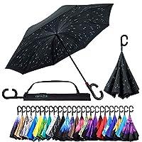 反転逆さ傘 逆さま 逆さま UV保護 ユニークな防風傘 ほとんどの傘よりも開ける リバーシブル 折りたたみ 2層 23 Inch X 8 Panels