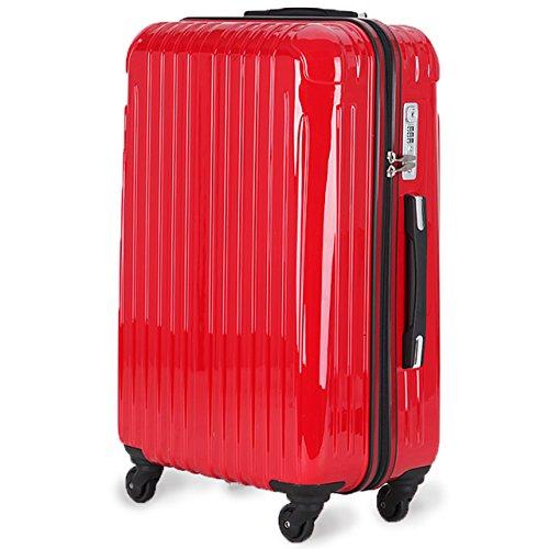 超軽量 2年保証 スーツケース TSAロック搭載 旅行バック トランクケース 旅行カバン (小型Sサイズ(1-3泊), レッド)