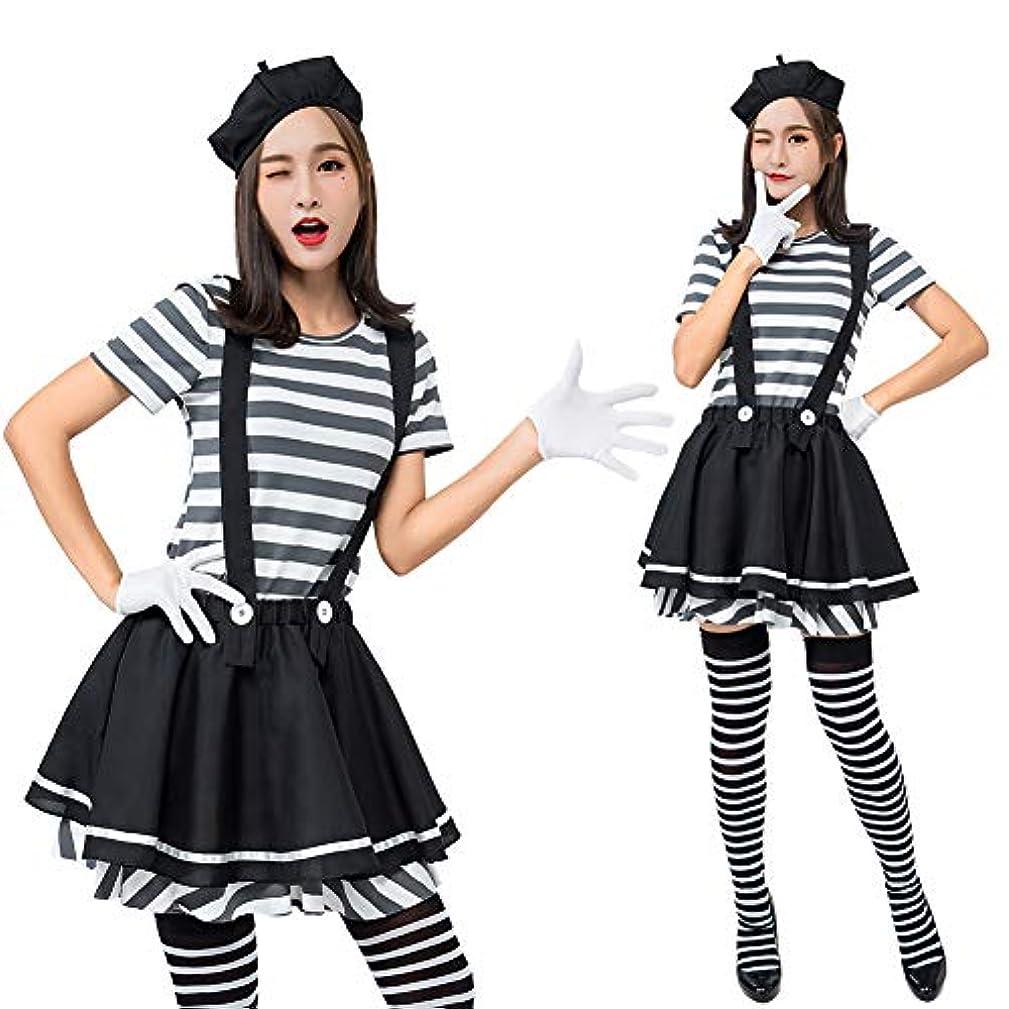 ピン劇的酔ってKIRI ハロウィン 仮装 囚人 コスプレ レディース コスチューム 女性 囚人服 ボーダー かわいい 吊りスカート
