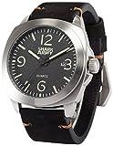 SHARK ARMY SAW185メンズ アナログ クオーツ 防水 日付表示 ブラック レザーバンド腕時計