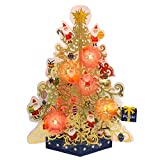 サンリオ クリスマスカード 洋風 ライト&メロディ ポップアップ 透明金ツリーにサンタ達 S7318