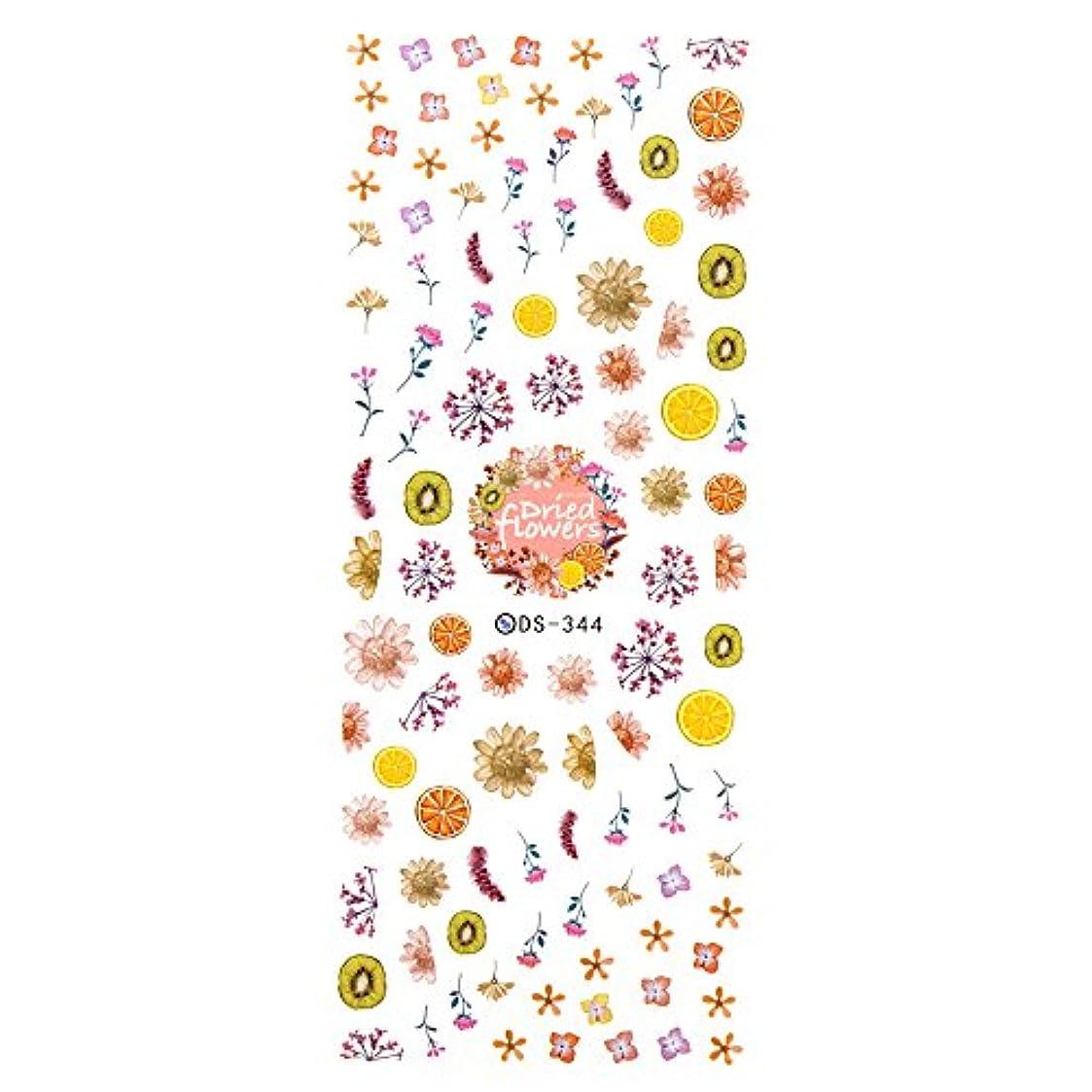 地理通訳連続的【DS-344ピンク】ドライフラワー&フルーツ柄ネイルシール