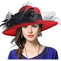 VECRY Women's Fascinator Wool Felt Hat Cocktail Party Wedding Fedora Hats