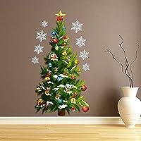 Dragon Honor ウォールステッカー クリスマス 装飾 綺麗 クリスマスツリー 黄色星 雪花 クリスマス·デコレーション 玄関/子供部屋/リビングに対応 インテリア 壁紙 シール はがせる 生活防水