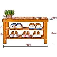 木製の靴ラックベンチ2階のホルダーオーガナイザーシート自然な竹のストレージシェルフ廊下のバスルームのリビングルーム(マルチサイズ)のための多機能シェルフ