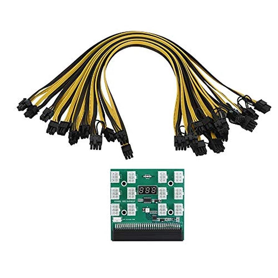 気づくなるオプショナル意味のあるVBESTLIFE PCI-E 6ピン マイニング用 電源ブレークアウトボード+12x2pinケーブル LEDスクリーン付 1600W ブレークアウトボード