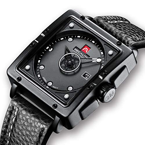 [メガリス]MEGALITH 腕時計ブラック 時計メンズ アナログクオーツ防水ウオッチレザー 日付表示 ラグジュアリー おしゃれ ビジネス カジュアル 男性腕時計