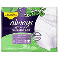 Always Discreet Low Rise Incontinence Underwear, Large, 17 Count by Always