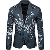 FSSE Men's Print Slim Fit One-Button Casual Business Blazer Jacket Coat