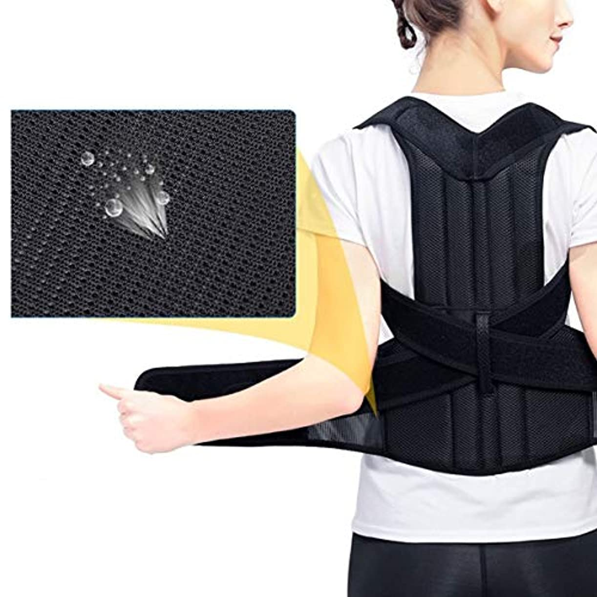 固める私たちの締め切り腰椎矯正バックブレース背骨装具側弯症腰椎サポート脊椎湾曲装具固定用姿勢 - 黒