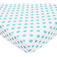 American Baby Company 100% Cotton Percale Fitted Crib Sheet, White with Aqua Dot by American Baby Company