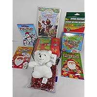 子供のおもちゃギフトバスケット – ホワイトStuffed Bear、USパズル、Elmo 's World Happy Holidays DVD、移動with Elmo押しAサウンドブック、3クリスマスPlayパッド、12クレヨン、バスケットW /装飾Shredsバンドル