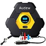 AUDEW エアコンプレッサーコンパクト 車用空気入れ 空気圧測定 LEDライト付き シガーソケット接続式 3種類アダプターノズル付き レジャー用品