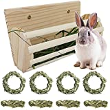 Natural Small Animal Hay Feeder Rack and Chew Toy Set, Pet Supply Woven Grass Accessories for Bunny Rabbits Guinea Pigs Rats