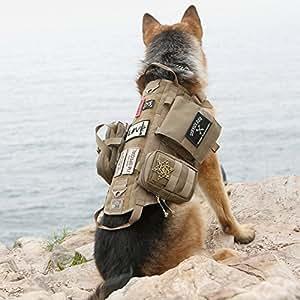 OneTigris ブランドペット犬用サバゲーベスト人気 犬ベストハーネス MOLLE対応ポーチ付け胴輪  ミリタリー訓練用大中型犬のしつけ サイズM/L/XL(タン, M)