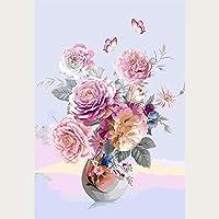 番号によるZddyx絵画Diy壁の装飾牡丹の壁アートパステルピンクの花デジタルプリントダウンロード牡丹の花ローズシンプルなファッションインスタントプラント、40X50Cm、フレーム付き