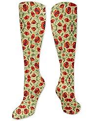 靴下,ストッキング,野生のジョーカー,実際,秋の本質,冬必須,サマーウェア&RBXAA Poppies Red Socks Women's Winter Cotton Long Tube Socks Cotton Solid...