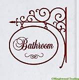 """浴室洗面10.5"""" X 10""""ビニールデカールステッカーサイン–Loo Powder Room ホワイト MT3001021-white"""