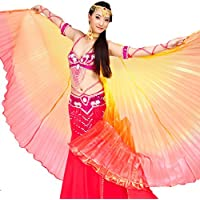 55f12fda93751 Wuchieal Belly Dance Multicolored Transparent Isis Wings Egyptian Cosplay  Costume Angel Isis Wings with Sticks