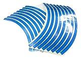 【オフィスKK】10インチ用オリジナルリムテープ★ブルー★反射材使用★2輪・4輪共通★幅約8ミリ★16本、1台分★リムステッカー★カスタム・ドレスアップなどに?