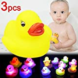 PERFLY Bath Toy,Can Flashing Colourful Light(3 Pack),Rubber Toys Floating Bath Toy,Changing Color Light up Baby Shower Bathtime,Bathtub Toy for Bathroom Kid Boys Girl Toddler Child