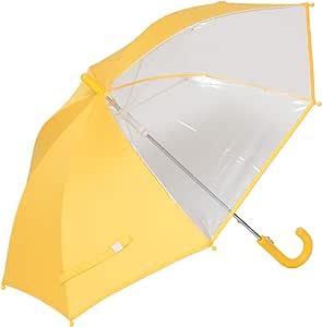 前が見える! キッズ 手開き傘 子供 傘 黄色 窓付き【LIEBEN-0622】 (透明×イエロー)